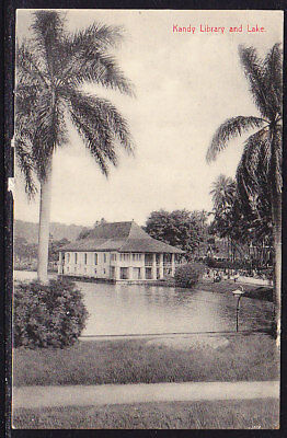 Ceylon Postcard Kandy Library and Lake #159