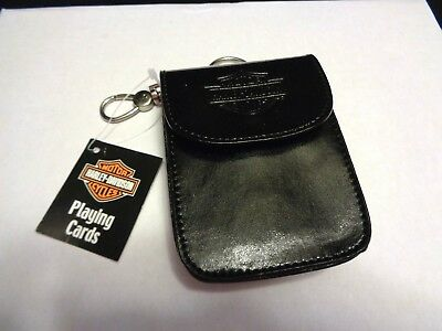 Harley-Davidson Leather Pouch with Clip Holder W/ Official Playing Cards New