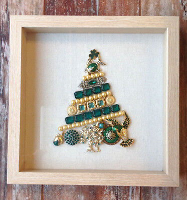 Framed Vintage Antique Jewelry Art Christmas Tree 10x10 Emerald Green, Yellow