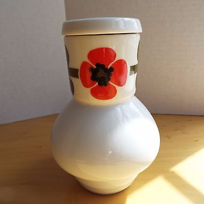 Vintage Red Poppy Sake Decanters with Cork Stopper Lid made in Japan