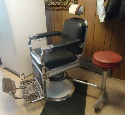 1950's Theo A. Kochs Antique Barber Chair With Extras