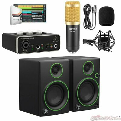 Mackie CR3 Monitors Rec Bundle Behringer UM2 Audio Interface & Mic w/Studio One