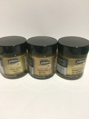 Pebeo Gedeo 30ml Gilding Liquid Metal 'Empire Gold' x 2 and 'Kings Gold' x1