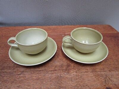 Russell Wright by Iroquois Casual China 2 Cups and Saucers Yellow