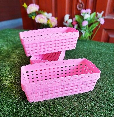Pink Small Plastic Storage Basket,Stationery, Gift, Home Décor