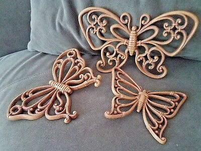 Butterfly Trio Vintage Syroco Wall Hangings, Natural Wicker Look