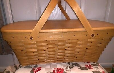 Longaberger Hostess TREASURES Large Basket With Protector and Lid Signed!