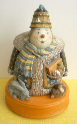 2002 G DeBrekht LE 'HOLIDAY PICNIC SNOWMAN' Music Box #54023 Second in Series