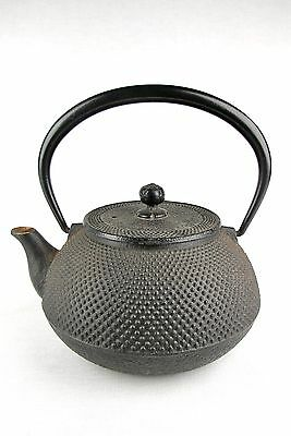 #895 Japanese Vintage Tetsubin Iron Tea Pot Signed Chagama Pimpled Design C1950