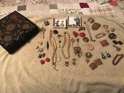 Small Lot Of Vintage Jewelry With Jewelry Box