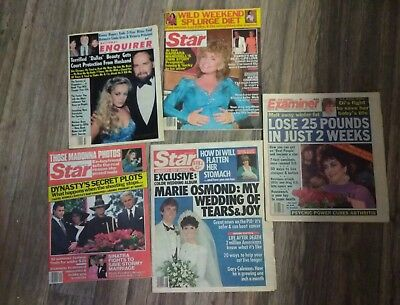 Vintage lot Of 6 Tabloid Magazines Enquirer People Star 1982-85 Elizabeth Osmond
