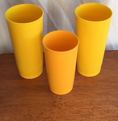 Tupperware Lot of 3 Vintage Yellow Weighted Tumblers 2 x 18 oz and 1 x 12 oz