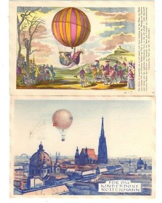 2 Vintage Balloning,First Day Cover Postcards (Postmarked 1950's) Mit Ballonpost