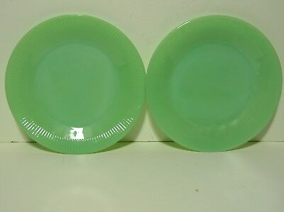 """Lot of 2 Jadeite 9"""" Dinner Plates Fire King Ware Ribbed"""