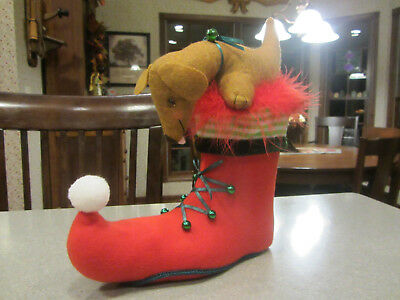 Red/Brown Dachshund in an Elf's Shoe Adorable Christmas decoration or GREAT GIFT