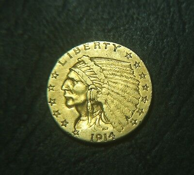 1914-D 2 1/2 Dollar Indian Head U.S. Quarter Eagle Gold Coin
