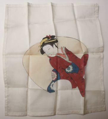 Vintage Japanese Geisha Girl Hand Painted Silk Painting Unsigned Scarf