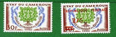 Cameroun 2 stamps, SC 338, 351, World Refugee Year, 1960 - 61,  MPH