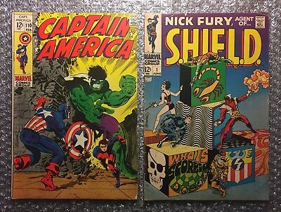 Captain America #110 & Nick Fury, Agent of SHIELD #1 - KEY Marvel Silver Age LOT