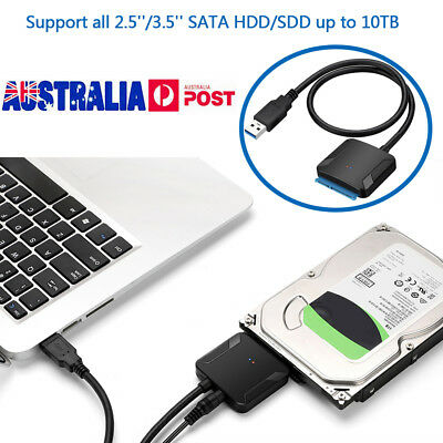 "New USB3.0 To 2.5"" 3.5"" SATA III Cable HDD SSD Hard Disk Drive Adapter Converter"