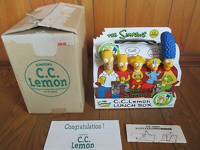 THE SIMPSONS JAPAN CC LEMON PRIZE Not For Sale Tin Can LUNCH BOX w/ BOX & Papers