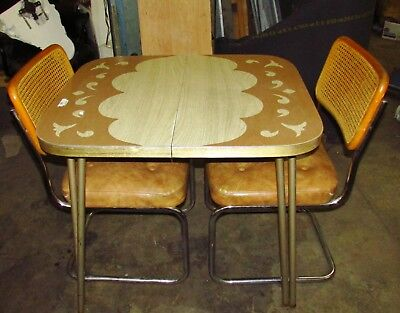 Vintage Retro Dinette Set..Patterned Top Table w/Cantilever Chairs