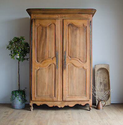 Antique 18C Light Oak & Fruitwood Knockdown Armoire Wardrobe Linen Press
