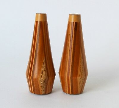 Vintage Retro 60s/70s TIMBER SALT & PEPPER SHAKERS Mid Century Eames GEOMETRIC
