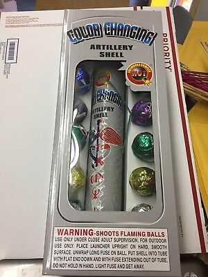 FIREWORKS LABELS ( Color Changing ) ARTILLERY SHELL 1 3/4 inch W, tube 12 Labels