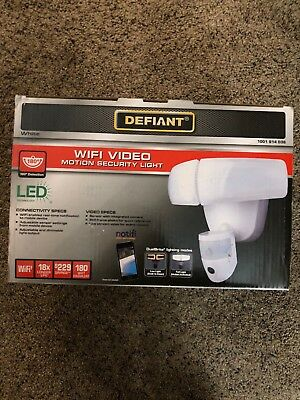 Defiant 180° White LED Wi-Fi Video Motion Security Light Camera - (New)