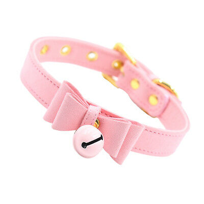 PU Leather Bow Collar Necklace Choker with Bell Cosplay Kitty Necklace Pink