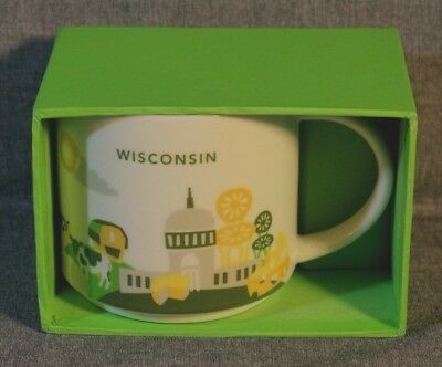 """Starbucks Rare Discontinued Wisconsin """"you Are Here"""" Mug W/cheese Chairs - New"""