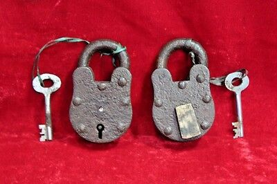 2 Pc. Old Antique Vintage Rare Iron Brass Lock and Key Collectible BD-4