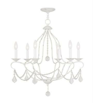Chandeliers 6 Lights With Antique White size 25 in 360 Watts - World of Crsytal
