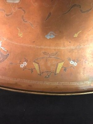 Vietnamese Niello Copper Inlaid Oval Tray w 4 Holy Beasts Opium War Period