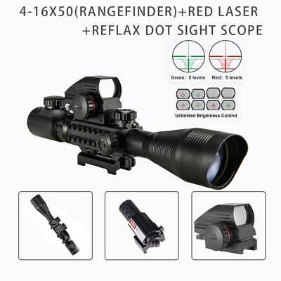 Pinty Rangefinder 3in1 4-12X50 Rifle Scope 20mm Reflex Dot Sight Red Laser Sight