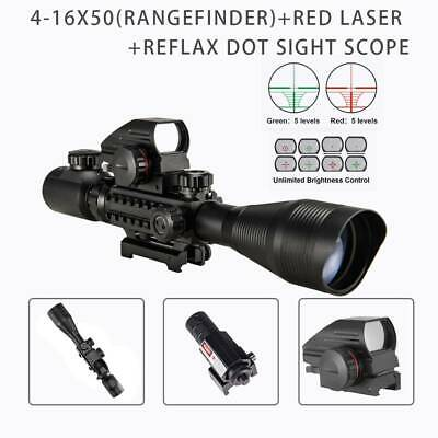 Rangefinder 3in1 4-12X50EG Rifle Scope w/ 20mm Reflex Dot Sight Red Laser Sight