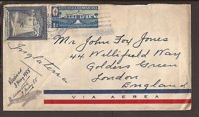 Dominican Republic 1955 Airmail cover with cinderella stamp.