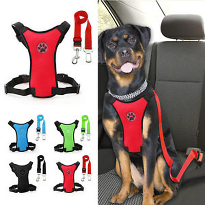 Pet Breathable Air Mesh Puppy Dog Car Harness + Seat belt Clip Lead For Dogs