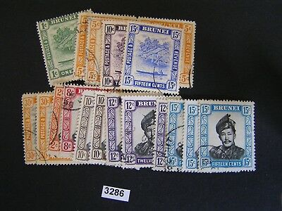 Brunei 1908-52 Range (19) Mint & Used Stamps Cat $17