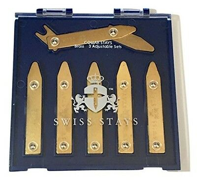Adjustable Brass Collar Stays - 3 Pairs, High-Quality NEW