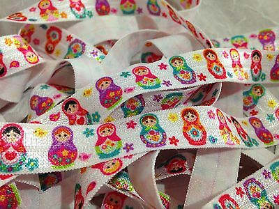 "1m/5m Babushka Russian Dolls on White FOE 5/8"" Fold Over Elastic Head Band"
