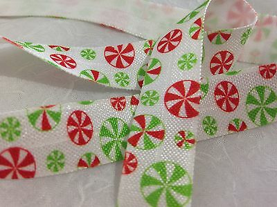 "Christmas Candy 5/8"" FOE Fold Over Elastic 1m/5m DIY Hair Ties"