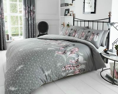 Luxury Feather Grey Printed Duvet Quilt Cover Bedding Set With Pillow Cases