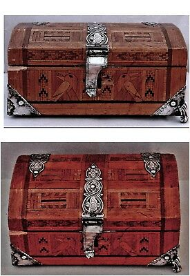 Antique 19th Century Russian Silver Mounted Marquetry Casket + Provenance