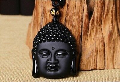 Natural 100% Obsidian Pendant Necklace Buddha head Charm Jewelry Lucky Amulet L2