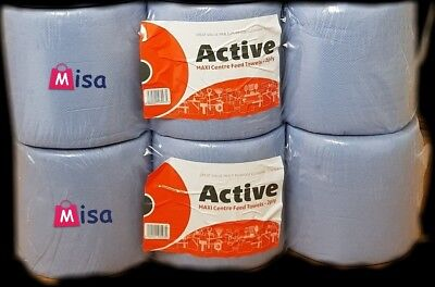 6 PACK 2 PLY 65m BLUE EMBOSSED CENTRE FEED CLEANING PAPER WIPE ROLLS PERFORATED