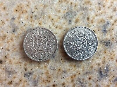 (2) Lot Of Great Britain Florin Two Shillings Coins - 1963 & 1966