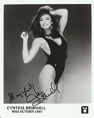 Cynthia Brimhall signed 8x10 promo Playboy Playmate autographed October 1985