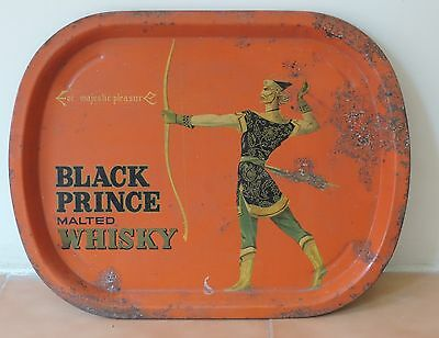 Rare Old vintage BLACK PRINCE MALTED WHISKY Tin TRAY.